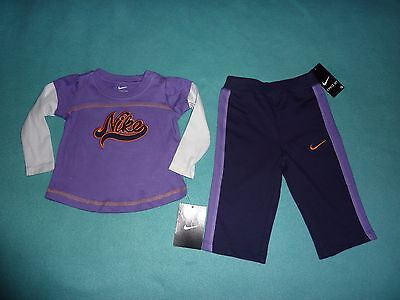 NWT Nike Girls Purple T-Shirt Pants 2 Piece Set Size 3-6 Months Baby/Infant/Kids
