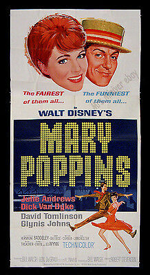 1964 Printed ☆ MARY POPPINS ☆ WALT DISNEY ORIGINAL 3-SHEET MOVIE POSTER! ☆ MINT!