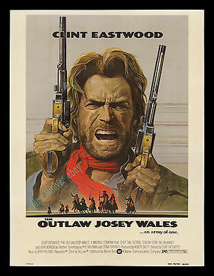THE OUTLAW JOSEY WALES 30x40 Lobby Display Movie Theater Poster! CLINT EASTWOOD!
