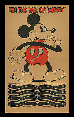 Walt Disney ☆1934 Mickey Mouse & The Three Little Pigs Party Game & Movie Poster