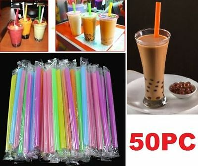 FD4733 Jumbo Drinking Straws Bubble Pearls Tea Party Drink Smoothie Slush 50PC☆