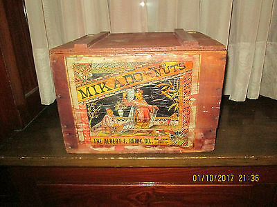 Antique Wood Crate Advertising Mikado Mixed Nuts With Wonderful Asian Graphics