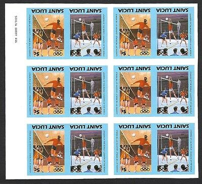 St. Lucia 1984 Olympics 5c HANDBALL imperf block of 12 with CENTER INVERTED MNH
