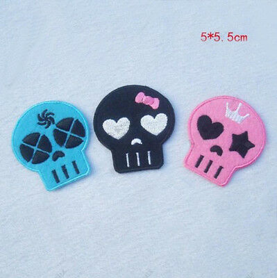 3pcs Embroidery Iron Sew On Patch Bag Cartoon Skull Motif Applique Kids Gifts