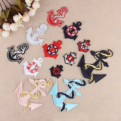 Embroidered Sew Iron On Patch Badge Navy Ship Anchor Shape Bag Fabric Applique