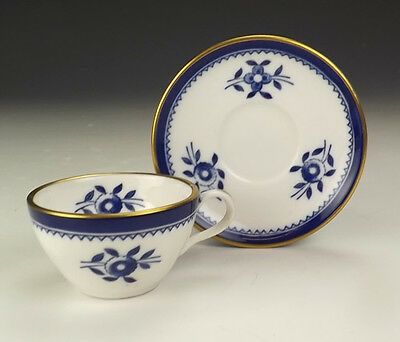 Spode Porcelain - Blue Flower Decorated Miniature Cabinet Cup & Saucer - Nice!