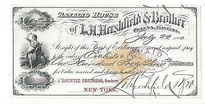 1880 Montana Territory First Of Exchange RN-G1
