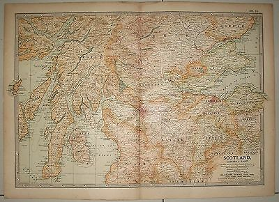 Map of Scotland Central Part ex-Britannica Encyclopedia 1903 few worm holes