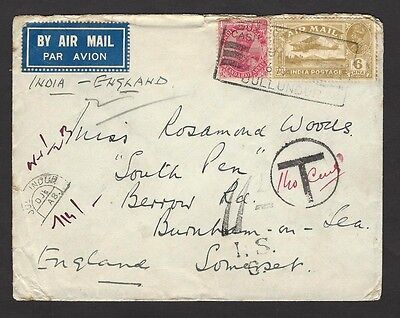 India 1929 Airmail 6as on cover to UK with horseshoe 14as due & 11d/IS due hs