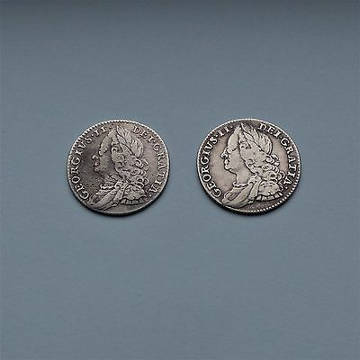2 George II Silver Sixpences, 1757 & 1758