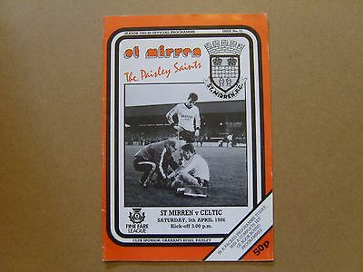 1985/86  ST MIRREN v CELTIC  SCOTTISH PREMIER PROGRAMME  05/04/1986
