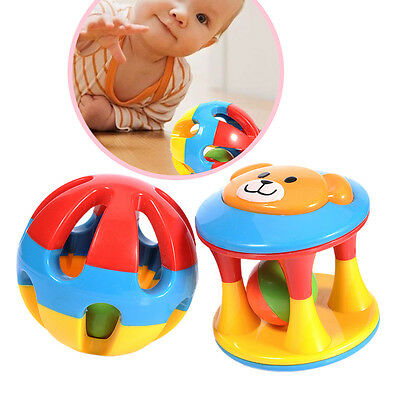 Toddle Baby Colorful Rolling Ball Infant Rattle Ring Bell Grasping Toy Gift 2Pcs