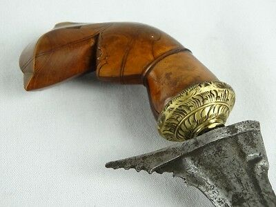 Antiq keris balinese carved sword iron blade pamor mlumah Indonesian kris kriss