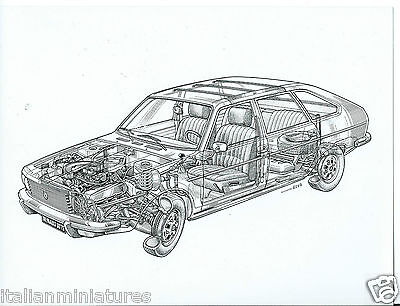 Renault 30 TS Original Ghost Cut Through Drawing x 3 Excellent Condition