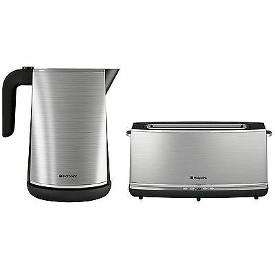 Hotpoint HD Line 1.7L Kettle + Extra Long Digital Toaster Stainless Steel Set