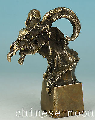 Cool Chinese Old Bronze Handmade Carved devil person Statue gift Ornament