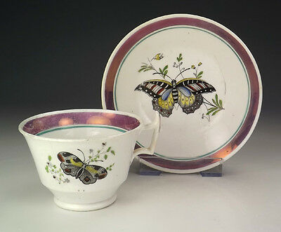 Antique Lustre Pottery Butterfly Cabinet Cup & Saucer - Slight Damage But Lovely