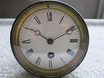 Antique French Mantel Clock Movement Brass With Enamel Dial & Door For Restorati