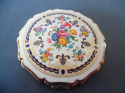 1940's Stratton Mirrored Powder Compact W/enamelware Floral Cover & Gold Edging