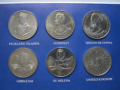 1980 The Queen Mother 80th Birthday 6 Crown Set in Royal Mint pack Falkland Isla