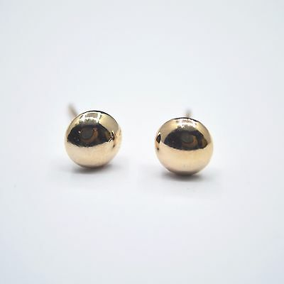Shiny 14K/14ct Rose Gold PL Smooth Cute Small Round Button Stud Earrings Gift