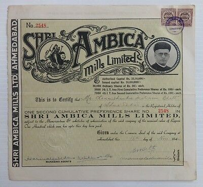 India 1942 Ambica Mills share certificate
