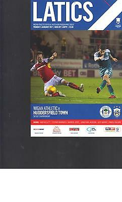 PROGRAMME - WIGAN ATHLETIC v HUDDERSFIELD TOWN - 2 JANUARY 2017