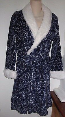 ULTA L-XL Navy BLUE WHITE Plush Faux Shearling Robe Womens Large Extra L Plus NW