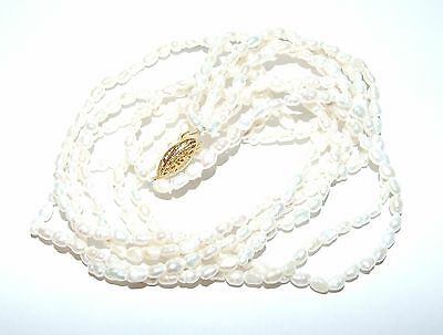Vintage Three Strand Seed Pearl Necklace Gold Tone Ornate Clasp
