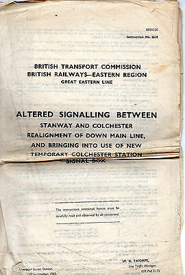 BR(E) Signalling Diagram: SEPT 1960: ALTERED SIGNALLING: STANWAY   COLCHESTER