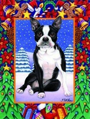Large Indoor/Outdoor Christmas Flag - Boston Terrier (TP) 68032