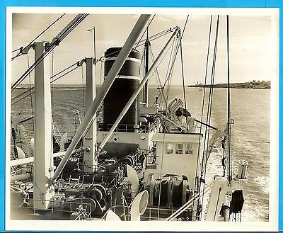 Press Photograph Ship Dredger Gerig Dredging Portland Harbor Maine 1954
