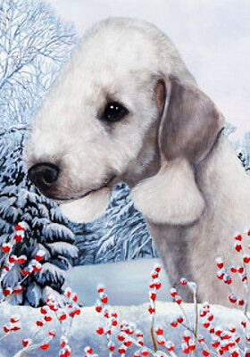 Large Indoor/Outdoor Winter Flag - Bedlington Terrier 15131