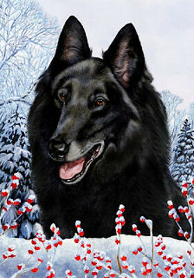 Large Indoor/Outdoor Winter Flag - Belgian Sheepdog 15204