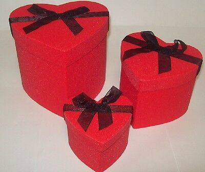 3 nested Heart Shaped Gift Boxes - red glittery with black ribbon - Valentines