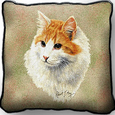"17"" x 17"" Pillow - Red & White Shorthair Cat 1956"