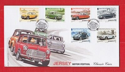 Jersey, 6th June, 2005, Motor festival, classic cars, First day cover set of 6