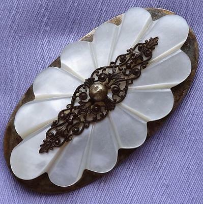 ANTIQUE Large EDWARDIAN Oval MOTHER-of-PEARL Scroll Brooch