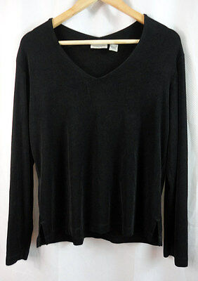 CHICO'S TRAVELERS Womens black LONG SLEEVE SHIRT top Sz 2
