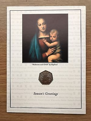 2005 Gibraltar 50p Christmas Card Coin - Mary and Jesus - BU UNC Fifty Pence