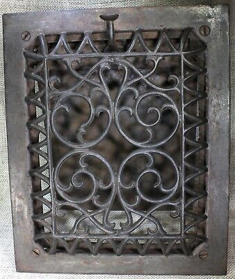 "Heat Air grate wall register 11 5/8 x 9 5/8"" old raised front Victorian louver"