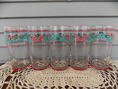 Set of 5 Vintage Christmas Holly & Berry with Red Ribbon Drinking Glasses