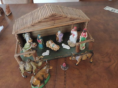 Vintage Christmas Creche Nativity Set Plaster Composition Italy & More (b668)