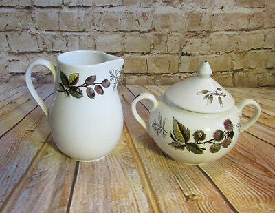 Vintage Ridgway Pottery Warwick Sugar and Creamer Fruit & Leaves Pattern