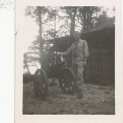 WWII 1944 60th NCB Seabees NG SMALL Photo # 12 Japanese artillery piece & Seabee