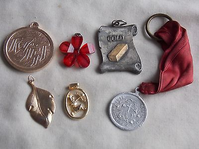 Mixed Lot Of Used And Vintage Pendants, Including A Gold Plated One