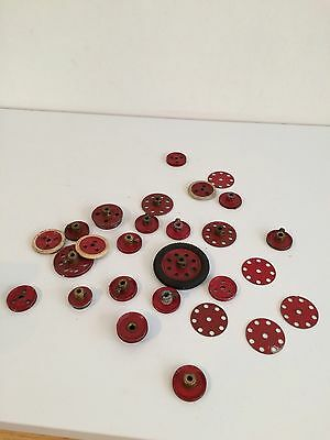 Vintage Meccano Red Pulley And Plate Lot