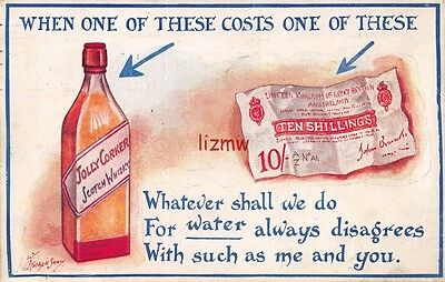 Bottle Scotch Whiskey & Ten Shillings Note When One Of These Costs One Of These