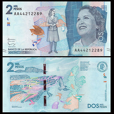 COLOMBIA  2000 Pesos 2015 ( 2016 ) UNC P New