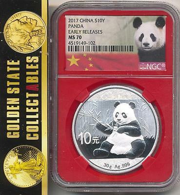 2017 China Silver 10Y Panda Ngc Ms70 Early Releases Red Core Holders. Ltd. Edit.